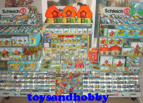 SOME OF THE VAST SMURF RANGE AT TOYS-N-HOBBY